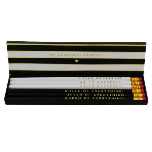 My Gorgeous Pencils Set Of 6 Designer Pencils In Black and White Striped Box